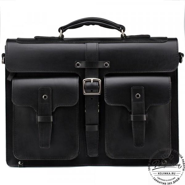 """Кожаный портфель """"Мирон"""" (чёрный). фото 1"""