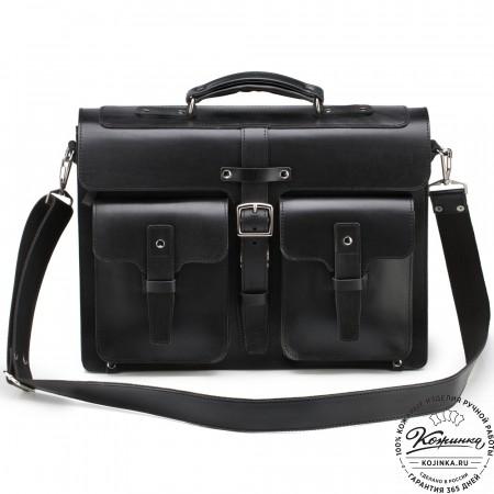 """Кожаный портфель """"Мирон"""" (чёрный)"""