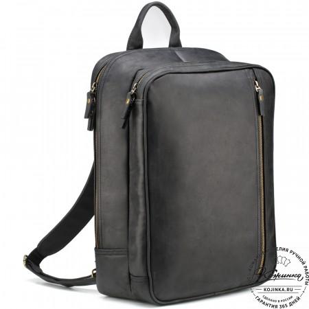 """Кожаный рюкзак-сумка """"Брюс"""" (чёрный)"""