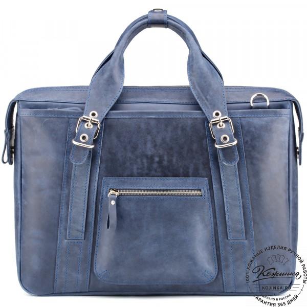 """Кожаная деловая сумка """"Доминик"""" (синий крейзи). фото 1"""