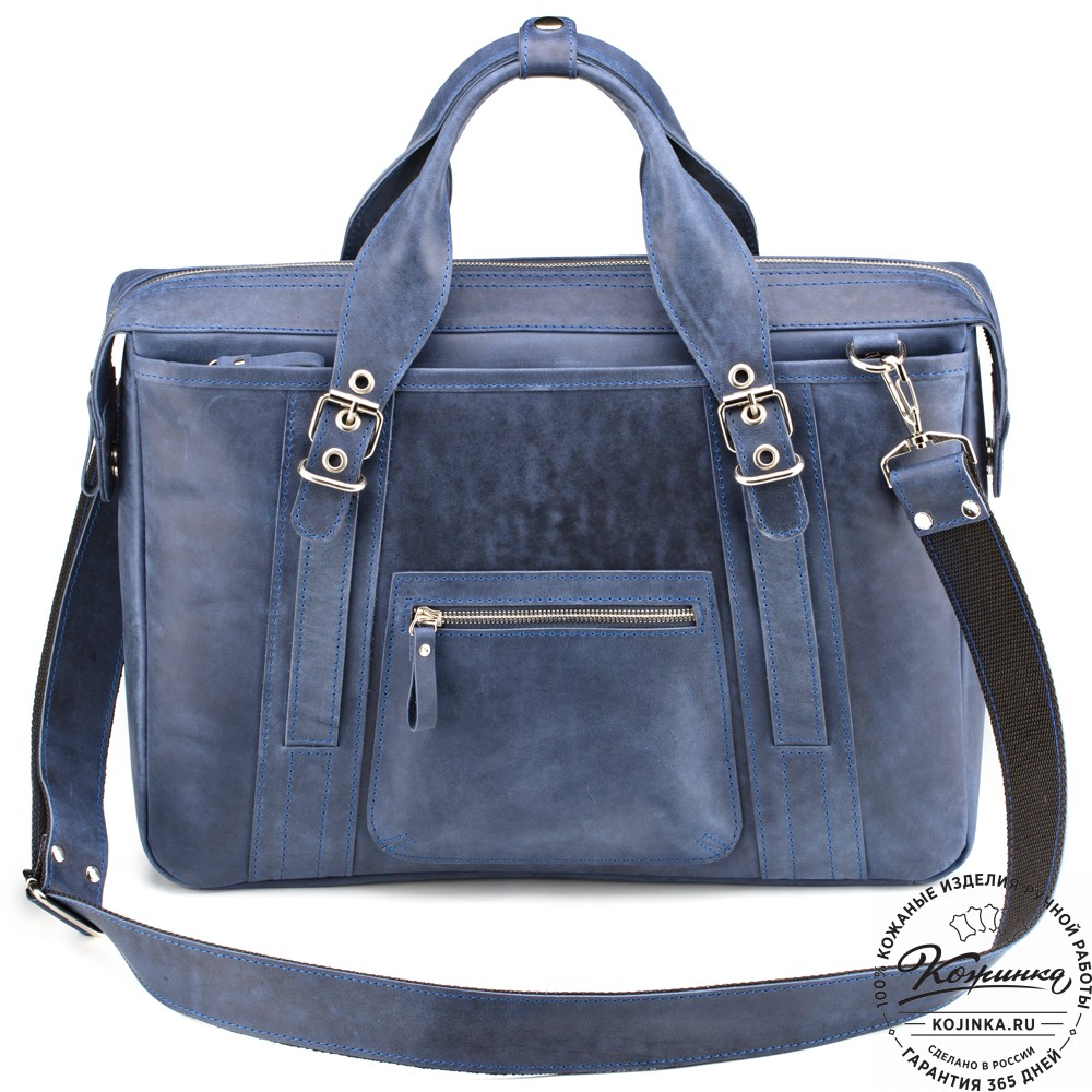 """Кожаная деловая сумка """"Доминик"""" (синий крейзи)"""