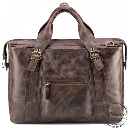 """Кожаная деловая сумка """"Доминик"""" (тёмно-коричневый антик)"""