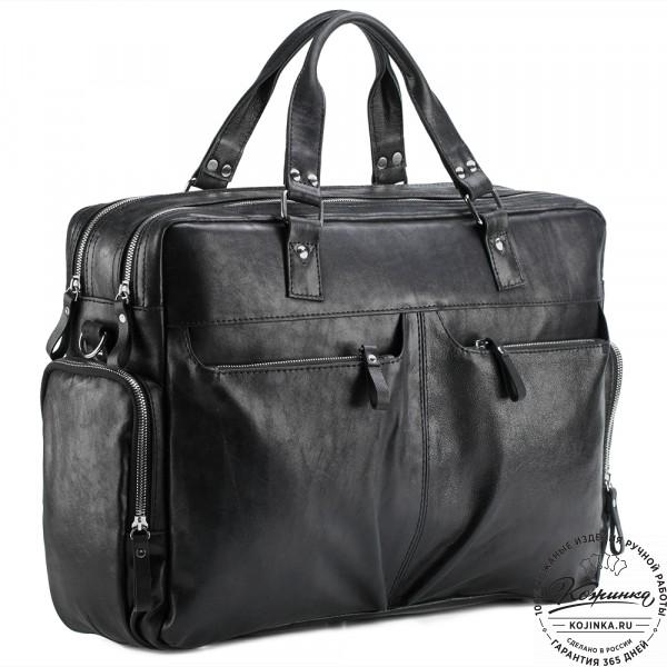 """Кожаная деловая сумка для командировок """"Бастилия"""" (чёрная). фото 1"""