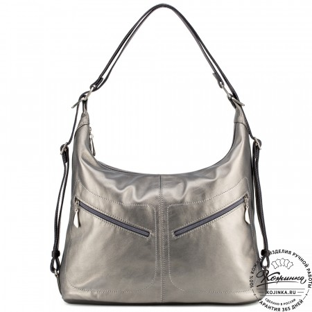 """Женская кожаная сумка-рюкзак """"Афина"""" (черненое серебро)"""