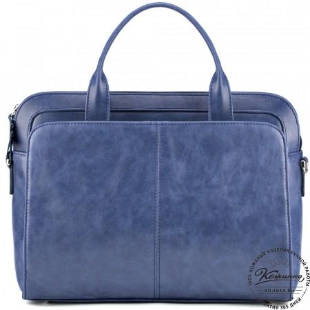 """Женская кожаная сумка """"Батерфляй"""" (синяя)"""