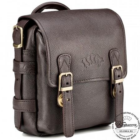 """Кожаная сумка через плечо """"Джек"""" (коричневая)"""