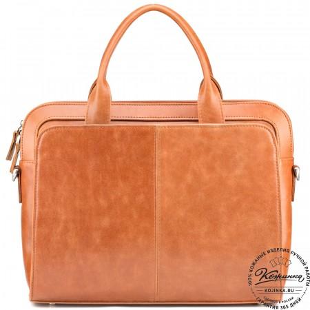 """Женская кожаная сумка """"Батерфляй"""" (рыжая)"""