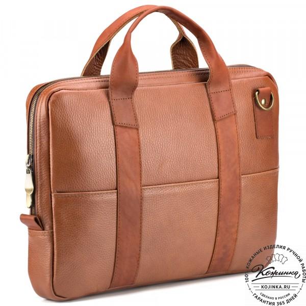 """Кожаная деловая сумка """"Карлос"""" (рыжая) . фото 1"""