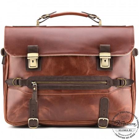 """Кожаный портфель """"Сталкер"""" (коричневый крейзи)"""