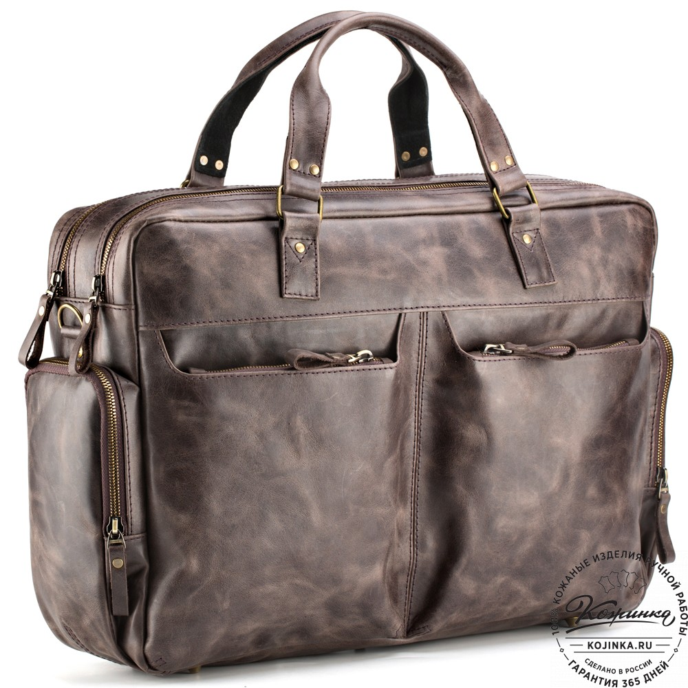 """Кожаная деловая сумка для командировок """"Бастилия"""" (тёмно-коричневый антик)"""