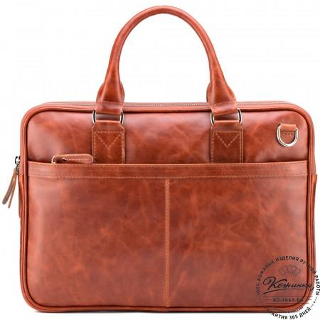 """Кожаная деловая сумка """"Кларк"""" (рыжий антик)"""