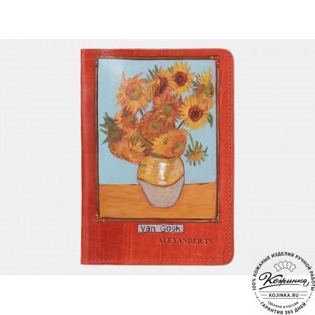 """Кожаная обложка на паспорт """"Подсолнухи"""" (оранжевая)"""
