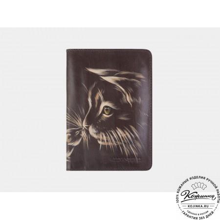 """Кожаная обложка на паспорт """"Знакомство"""" (коричневая)"""