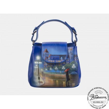 """Женская кожаная сумка """"Английский вечер"""" (голубая)"""