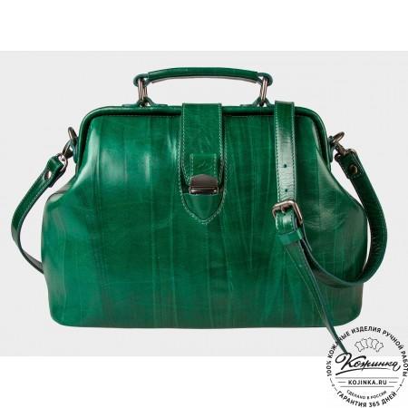 """Женская кожаная сумка-саквояж """"Симона XL"""" (зелёная)"""