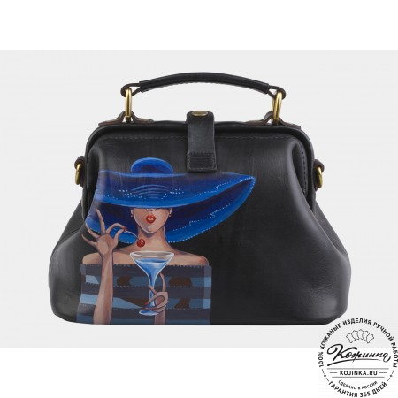 "Женская кожаная сумка-саквояж ""Дама в шляпе"" (чёрная)"
