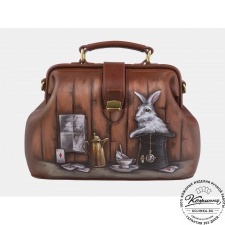 """Женская кожаная сумка-саквояж """"Кролик в шляпе"""" (коричневая)"""