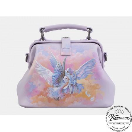 """Женская кожаная сумка-саквояж """"Белые голуби"""" (лиловая)"""