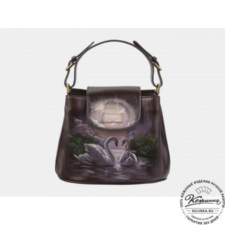 """Женская кожаная сумка """"Лебеди"""" (коричневая)"""