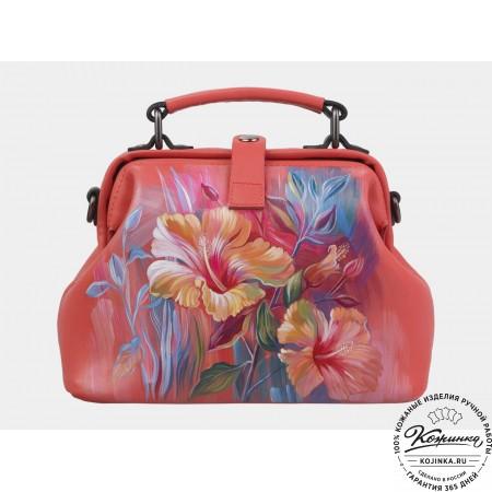 """Женская кожаная сумка-саквояж """"Цветы"""" (коралловая)"""