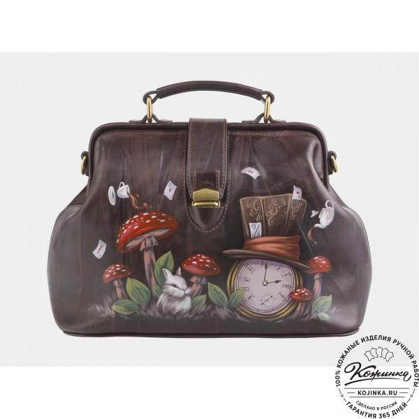 """Женская кожаная сумка-саквояж """"Алиса Часы"""" (коричневая). фото 1"""