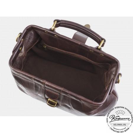 """Женская кожаная сумка-саквояж """"Алиса Часы"""" (коричневая)"""
