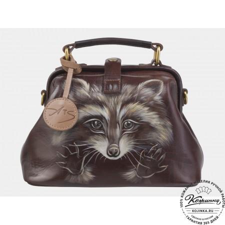 """Женская кожаная сумка-саквояж """"Енот"""" (коричневая)"""