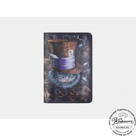 """Кожаная обложка на паспорт """"Чешир в шляпе"""" (черная)"""