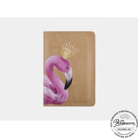 "Кожаная обложка на паспорт ""Фламинго"" (бежевая)"