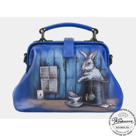 """Женская кожаная сумка-саквояж """"В стране чудес"""" (голубая)"""