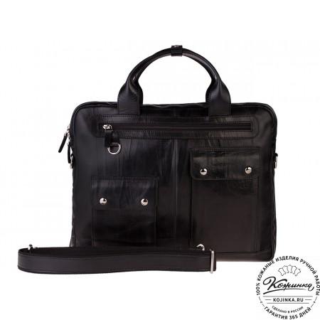 """Кожаная деловая сумка """"Вермонт"""" (чёрный)"""