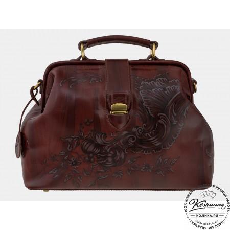"""Женская кожаная сумка-саквояж """"Рог изобилия"""" (темно-коричневый)"""
