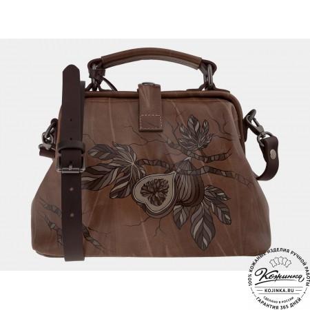 """Женская кожаная сумка-саквояж """"Инжир"""" (светло-коричневый)"""