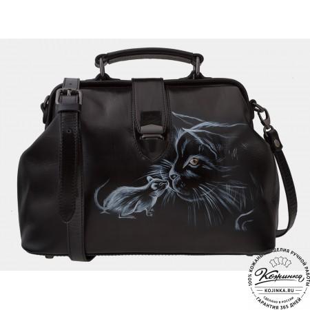 """Женская кожаная сумка-саквояж """"Знакомство"""" (чёрный)"""