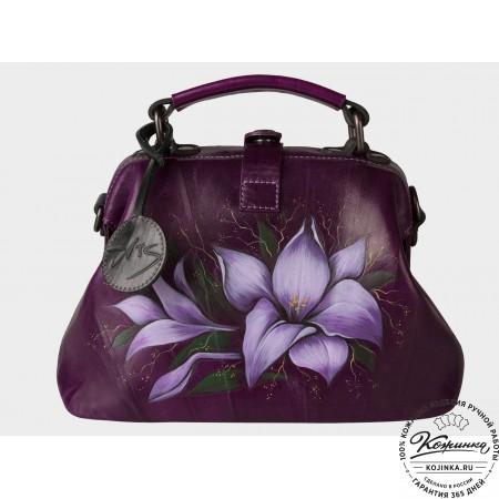 """Женская кожаная сумка-саквояж """"Лилии"""" (фиолетовый)"""