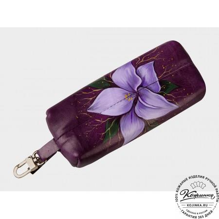Кожаная ключница «Лилии» (фиолетовый)