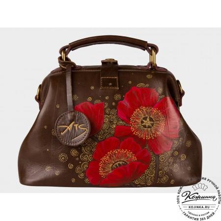"""Женская кожаная сумка-саквояж """"Маки"""" (коричневый)"""