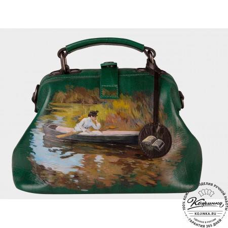 """Женская кожаная сумка-саквояж """"Миссис Чейз"""" (зелёный)"""