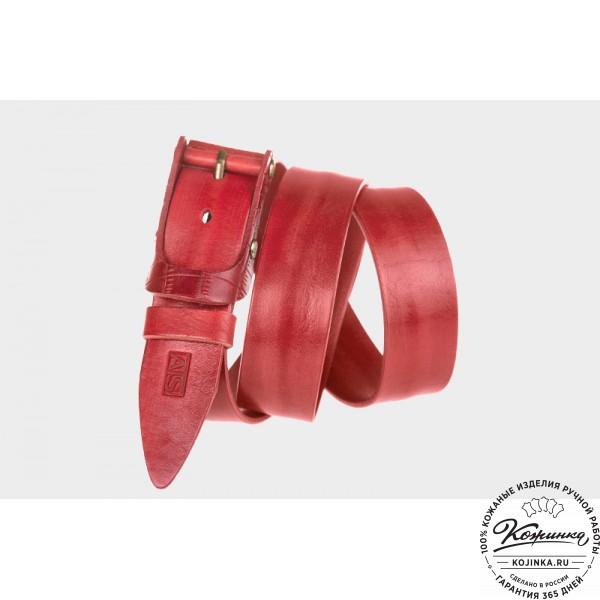 Кожаный ремень AT40-019 (красный). фото 1