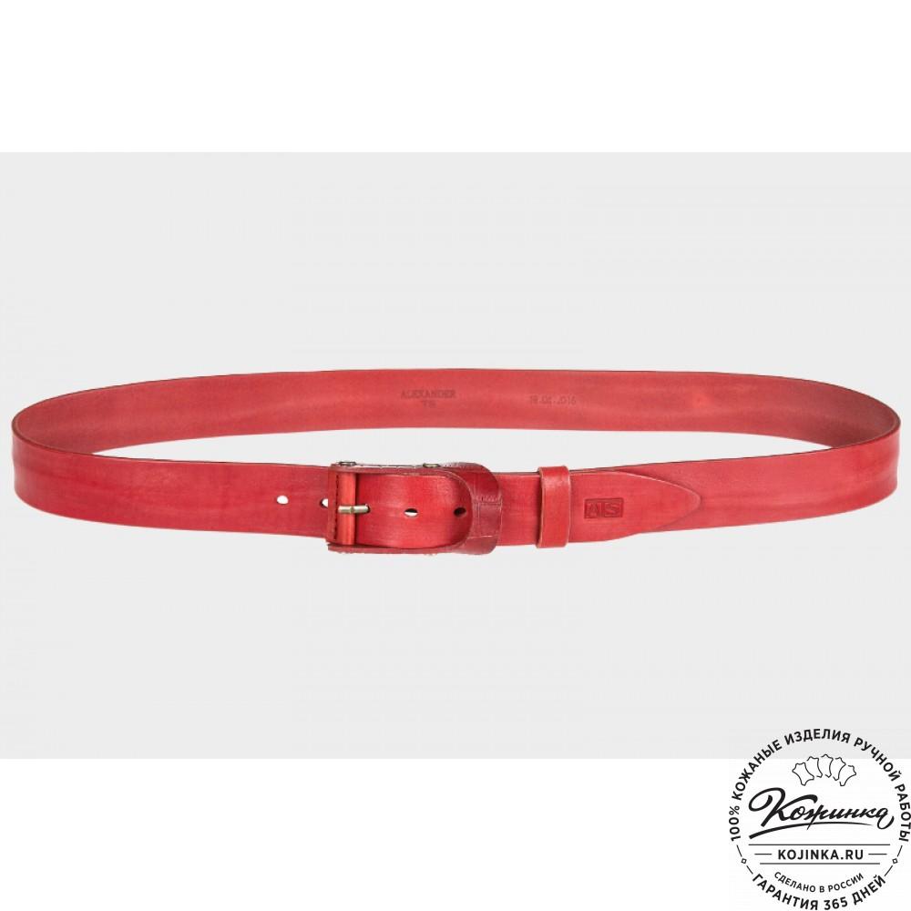 Кожаный ремень AT40-019 (красный)