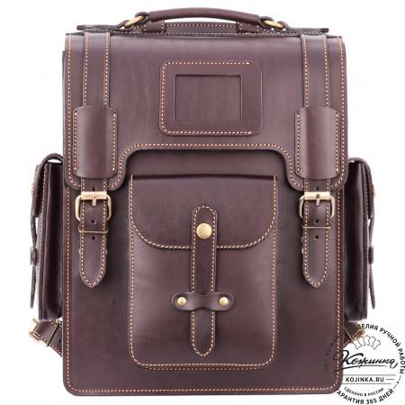 """Кожаный ранец-портфель """"Джонн"""" (темно-коричневый)"""