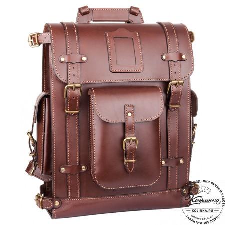 """Кожаный ранец """"Максимус 3"""" (коричневый)"""