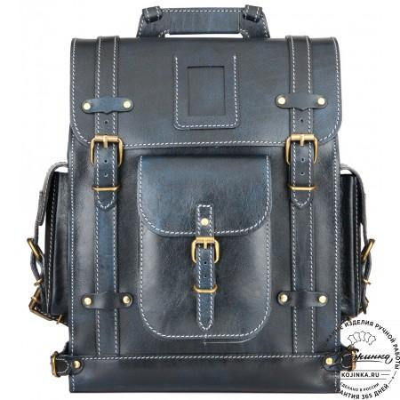 """Кожаный ранец """"Максимус 3"""" (синий эксклюзив)"""