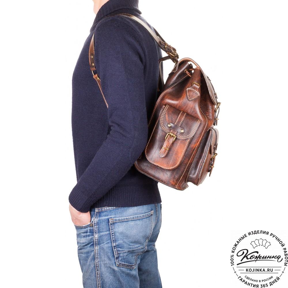 """Кожаный рюкзак """"Патриот"""" (коричневый эксклюзив)"""