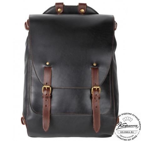 """Кожаный рюкзак """"Рафаэль"""" (чёрный с коричневым)"""