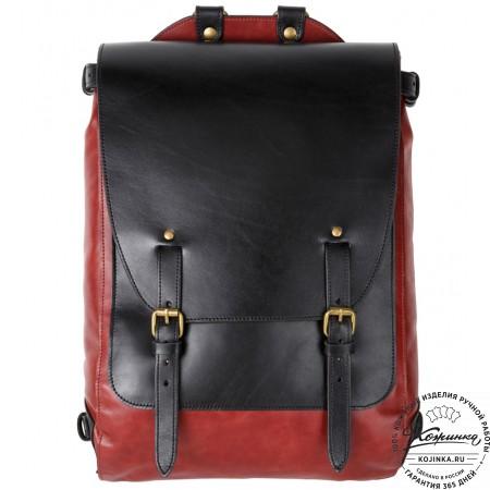 """Кожаный рюкзак """"Рафаэль"""" (красный с чёрным)"""