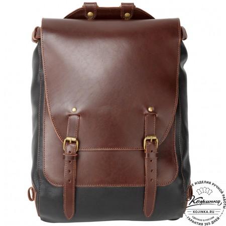 """Кожаный рюкзак """"Рафаэль"""" (коричневый с чёрным)"""