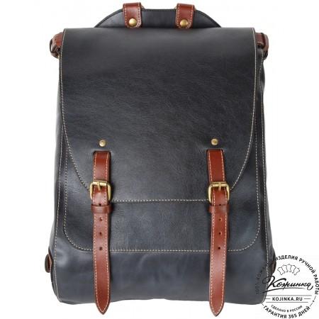 """Кожаный рюкзак """"Рафаэль"""" (синий с коричневыми ремнями)"""