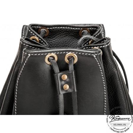 """Женский кожаный рюкзак """"Гейша"""" (чёрный эксклюзив)"""