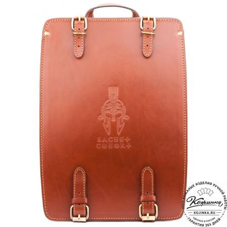 """Кожаный рюкзак """"Когорта"""" (рыжий)"""